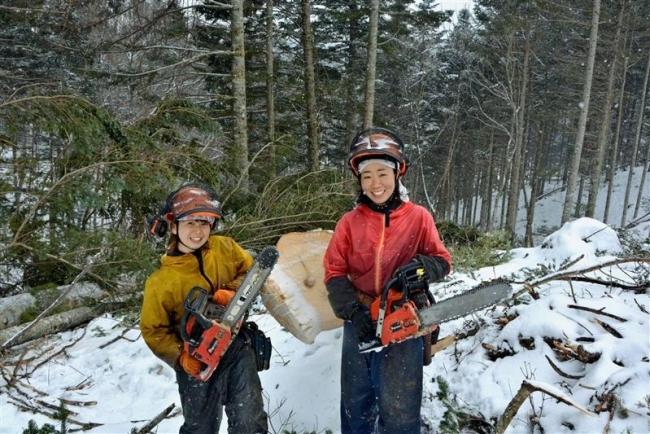 「林業女子」が奮闘 浦幌の北村林業に2人