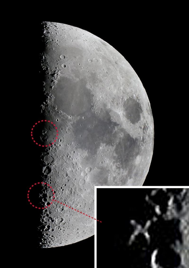 「月面X」くっきり 銀河の森天文台が撮影