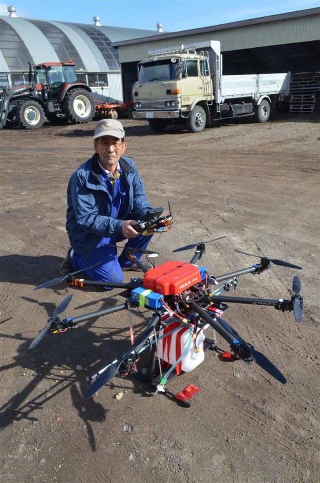 士幌の加藤さん、農業用のドローンを自作