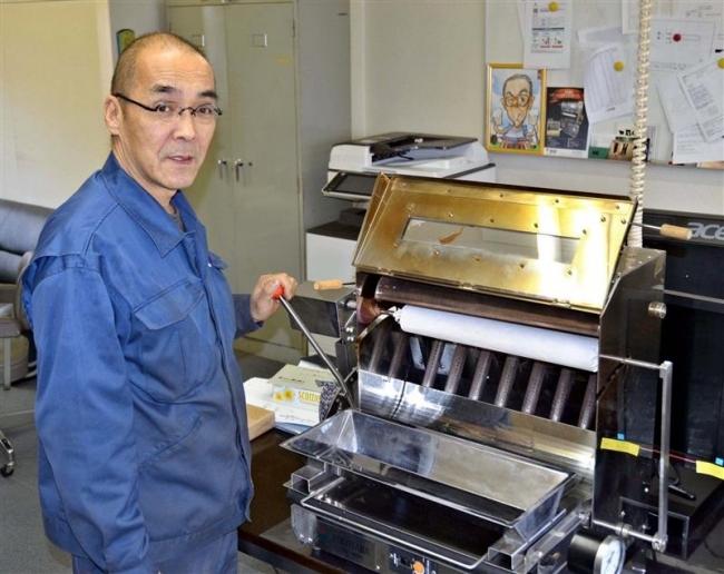 製菓機を輸出へ バウムクーヘン自動焼き上げ 帯広の横山鉄工