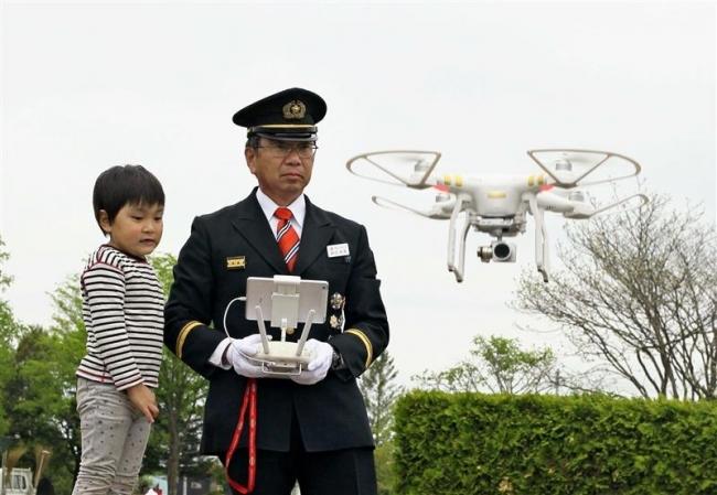 訓練をドローン撮影 消防団春季消防演習