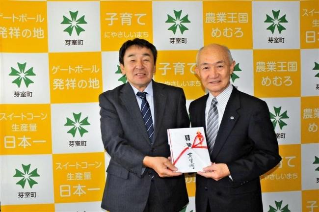 大相撲の矢後後援会に100万円寄贈 芽室町