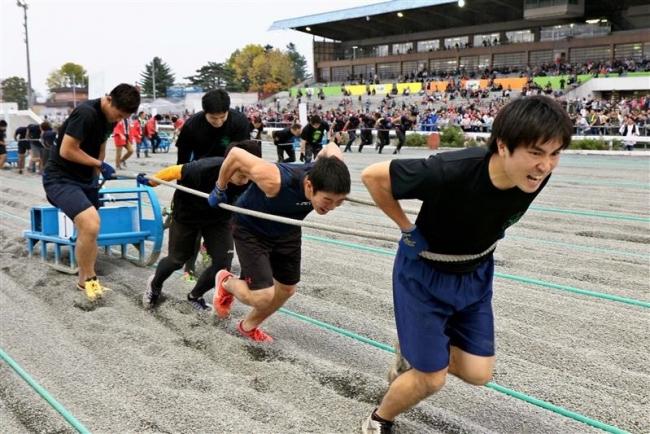 180キロの鉄そり引く 人間ばん馬 北大陸上部が優勝