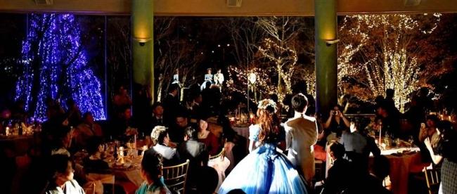 北海道ホテルのイルミネーション 結婚披露宴で点灯式