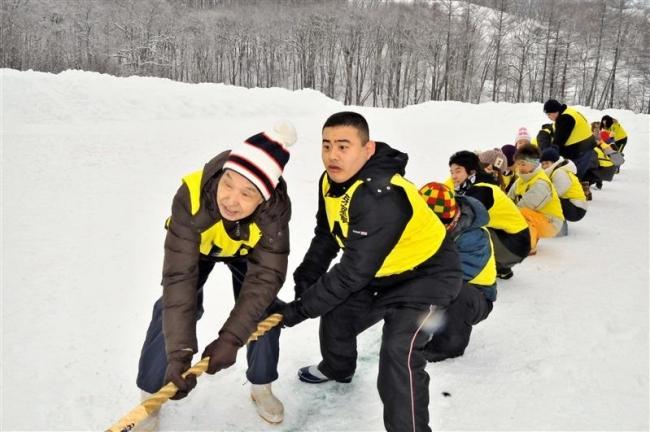 雪中競技で交流 芽室・ふれあい運動会