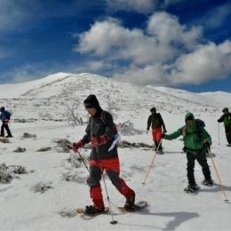 ルート最高地点のルゥチシ峠。緩やかな台地状で快適に進む。後方に見えるのは前富良野岳
