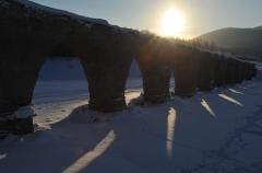 輝く幻のタウシュベツ橋梁、姿現す 上士幌    写真4