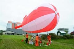 大樹で飛行船形係留気球空撮実験 スカイプラットフォーム  2