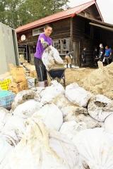 泥を詰めた袋を運ぶ部員(22日午後1時半ごろ、清水町旭山で)