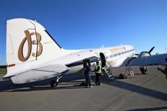 尾翼にブライトリングの「B」の文字が美しい