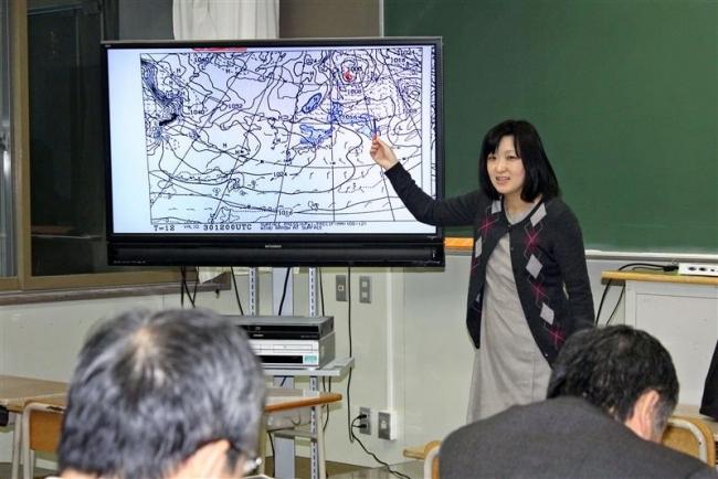 気象予報士として一般に授業 大樹高の箱崎教諭