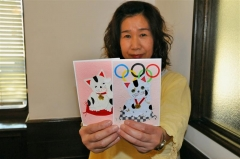 帯広市在住の岩崎ゆう子さん 「はり絵はがき」で被災者応援