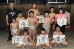 西明と小師V十勝連盟の7人入賞道小中学生相撲選手権