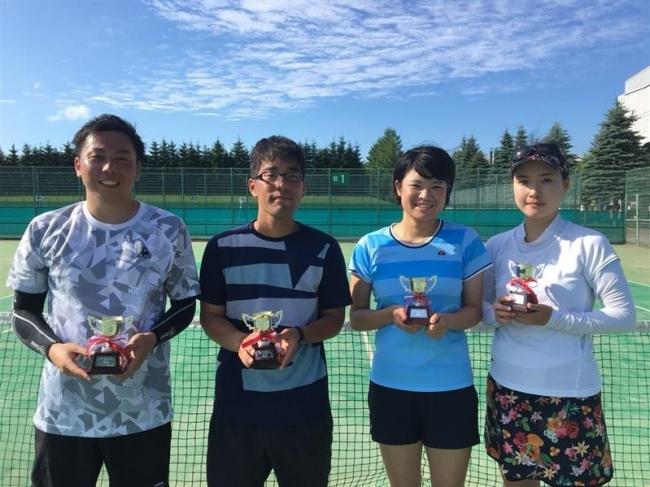 曽根・志部谷V 女子は桂井・大嶋、全十勝複テニス