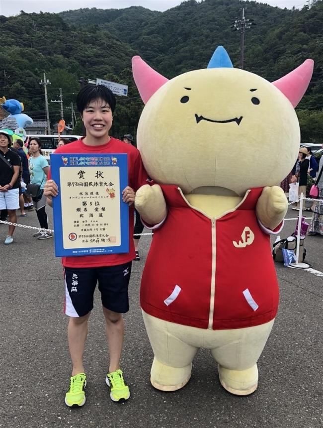蝦名(帯大谷2年)5位入賞 福井国体水泳OWS