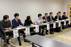 事業内容を説明する協議会のメンバー(左から4人目が平藤教授)