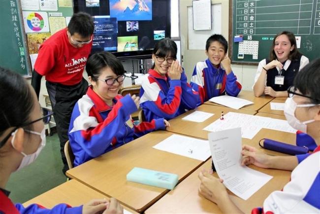 外国人高校生と交流 更別中央中