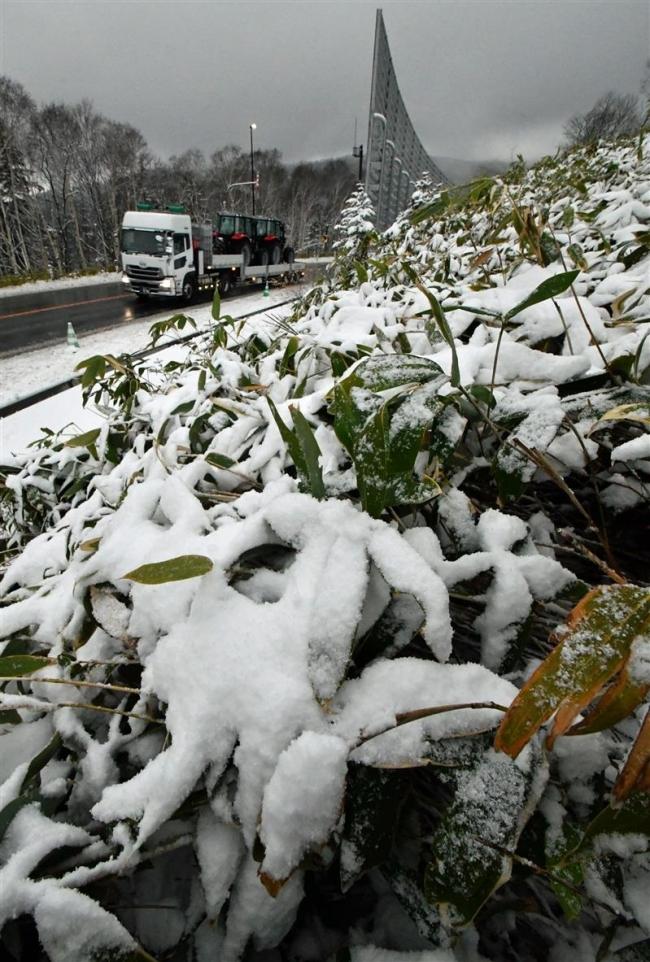 峠は冬景色 日勝、三国で雪