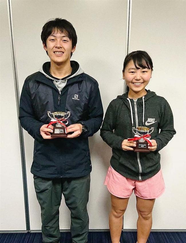 窪田、井上V 全十勝室内テニス単選手権大会