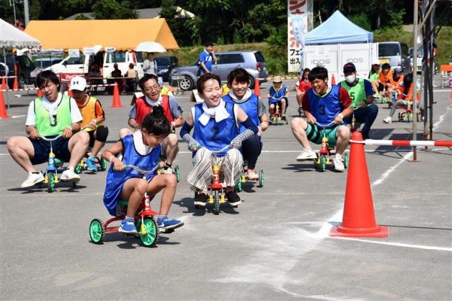 三輪車でタイムを競う「とかち3ちゃりグランプリ」にぎわう