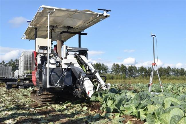 露地野菜収穫をAIで自動化 鹿追で実証実験公開