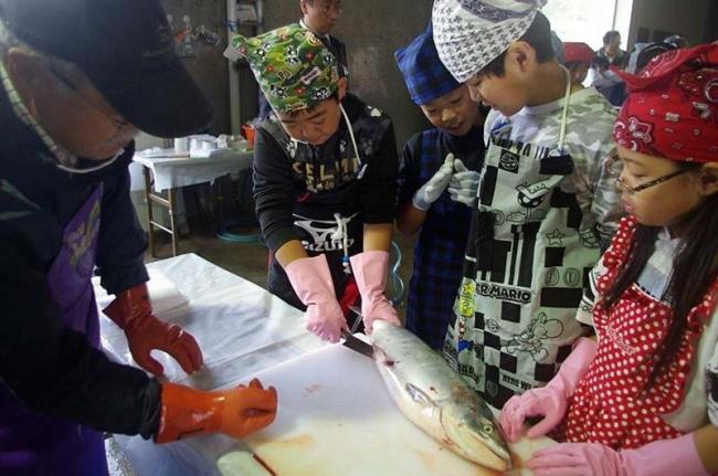 秋サケの三枚おろしに挑戦 浦幌の児童、生徒