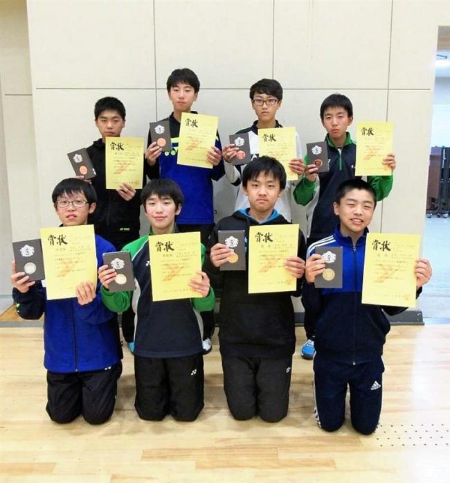 帯八千代男女優勝 全十勝中学生室内ソフトテニス大会