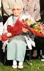 2014年に105歳の祝賀会を行ったときの平林まきさん(平林利夫さん提供)