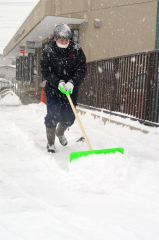 雪が降り続く中、除雪作業をする広尾郵便局の局員(29日午前9時50分ごろ)
