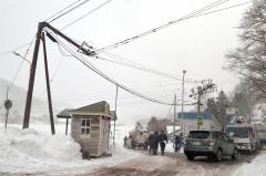 強風の影響で折れた2本の電柱(広尾町音調津、16日午後3時ごろ)