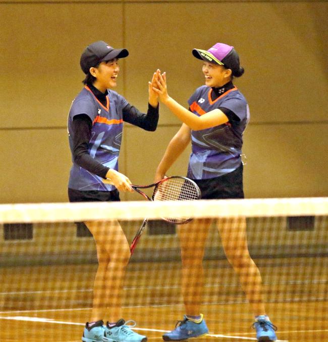 帯緑陽男女V、猪股・飯塚組、井戸坂・長屋組 全十勝高校室内ソフトテニス