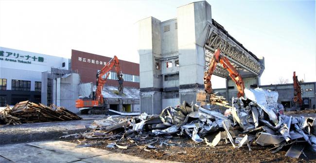 帯広市の旧総体、解体作業大詰め