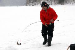 オショロコマを釣り上げる釣り人