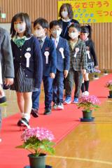 緊張 緊張の面持ちで、花で飾り付けられたレッドカーペットを踏んで入学式会場を入場行進する新1年生ら(音更駒場小)