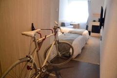 自転車と一緒に泊まれるサイクルフレンドリー対応の部屋もある