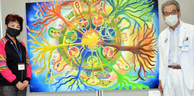 メキシコ在住佐々木さんの油彩画展示 帯広徳洲会病院