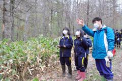 自然林を見学する生徒たち