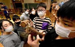 3年を経て成虫となったクワガタと飼育する5、6年生の児童(金野和彦撮影)