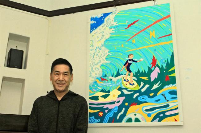 統合失調症の海谷さん、カフェでアクリル画展