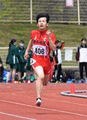 男子400メートル6組 1着濱田紘旗(帯柏葉高)