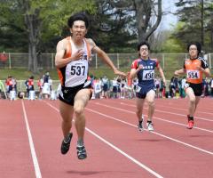 男子400メートル7組 2着橋本凌弥(白樺学園高)