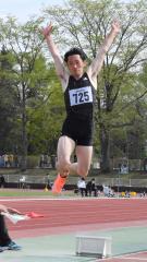 【男子走り幅跳び】6本目に追い風参考ながら7メートル27を記録した野村錬(十勝陸橋)