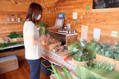 新鮮な野菜を買い求める町民