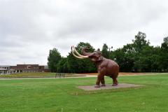 スマイルパークのナウマンゾウ。夏には町民の善意で子ゾウがお目見えする