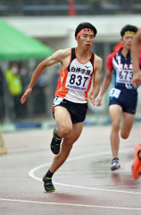【男子400メートル決勝】スタート後に加速する橋本凌弥(白樺学園)
