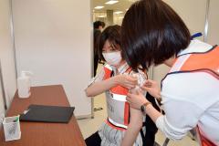 イトーヨーカドー帯広店で行われた集団接種のリハーサル(19日午前11時20分ごろ)