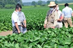 牧村さん(中央)から生育状況について聞く水戸部局長(左)