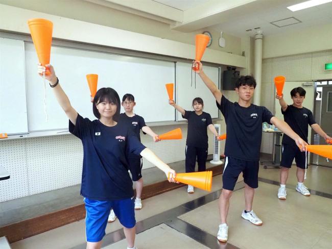 甲子園初戦へ 帯農応援団も練習に熱