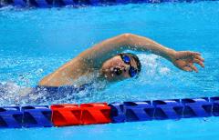 【競泳女子100メートル自由形S11クラス・予選2組】1分19秒82のタイムで組み6着、全体で12位となり、決勝進出を逃した小野智華子(3日、午前10時半ごろ、東京アクアティクスセンター。金野和彦撮影)
