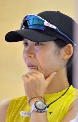 トレーニング後に顔に汗を浮かべる高木美帆